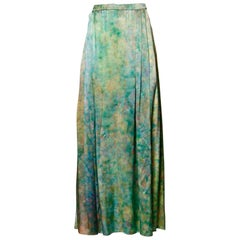 Vintage Hand Painted Tie Dye Silk Long Ombre Maxi Skirt