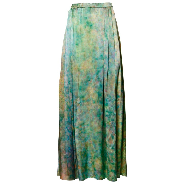 Vintage Hand Painted Tie Dye Silk Long Ombre Maxi Skirt For Sale