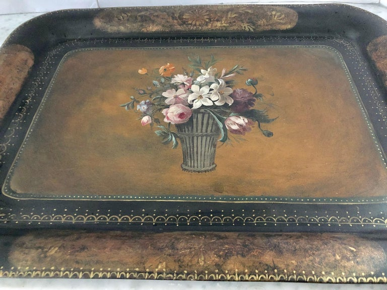 American Vintage Hand Painted Tole Tray Coffee Table For Sale