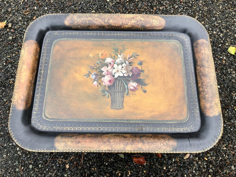 Mid-20th Century Vintage Hand Painted Tole Tray Coffee Table For Sale