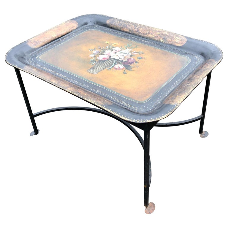 Vintage Hand Painted Tole Tray Coffee Table For Sale