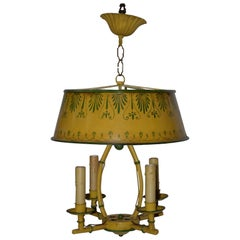 Vintage Hand Painted Toleware Four-Light Chandelier, circa 1930
