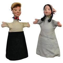 Vintage Hand Puppet Dolls, Marionette Dolls, Germany, 1950s