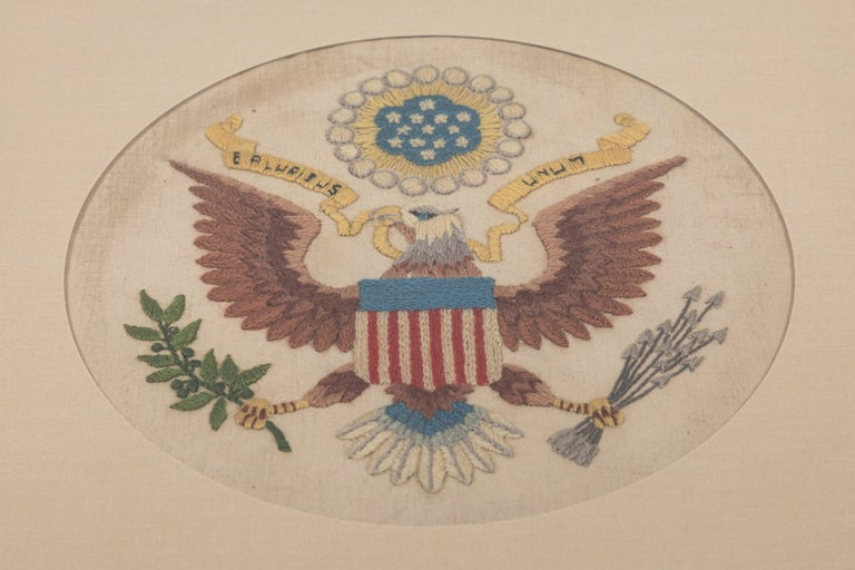 American Vintage Handstitched Crewel Panel / US National Emblem For Sale