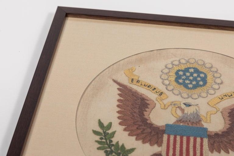 20th Century Vintage Handstitched Crewel Panel / US National Emblem For Sale