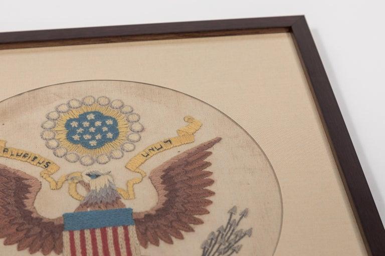 Wood Vintage Handstitched Crewel Panel / US National Emblem For Sale