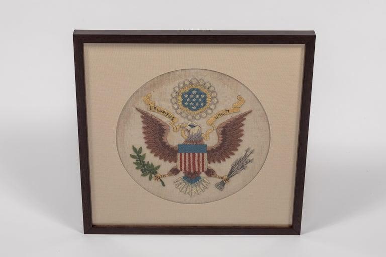 Vintage Handstitched Crewel Panel / US National Emblem For Sale 1