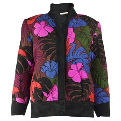 Vintage Hand Worked Thai Silk Quilted Floral Jacket, 1980s