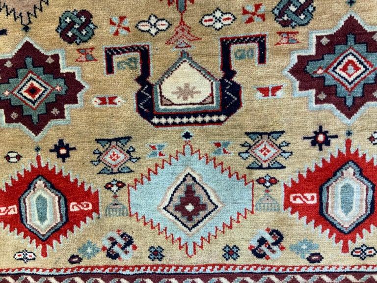 Vintage Handwoven Kazak Motifs Rug For Sale 3