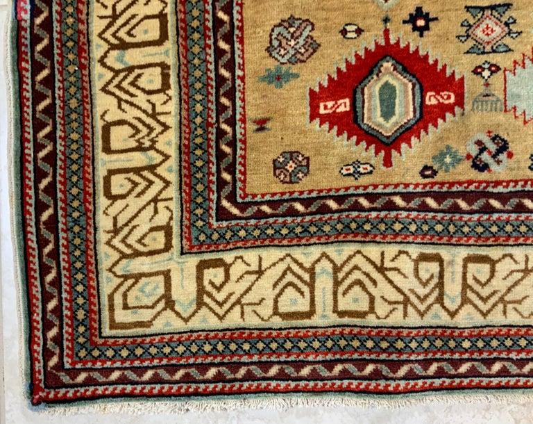 Vintage Handwoven Kazak Motifs Rug For Sale 4