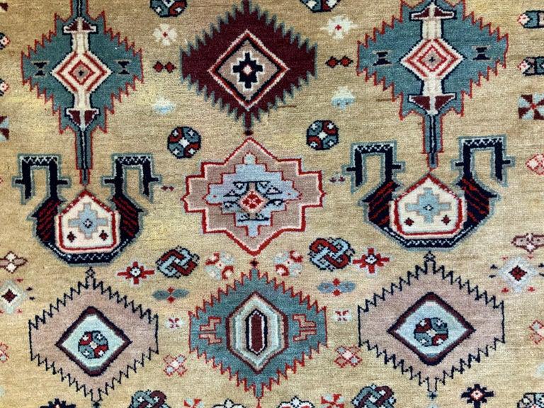 Vintage Handwoven Kazak Motifs Rug For Sale 5