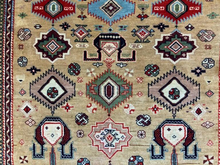 Vintage Handwoven Kazak Motifs Rug For Sale 6