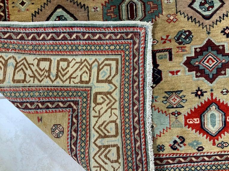 Vintage Handwoven Kazak Motifs Rug For Sale 7