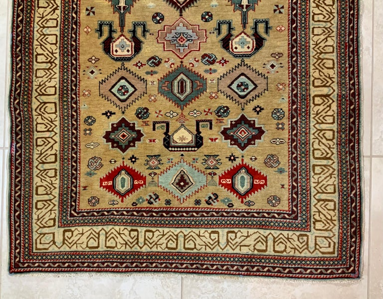 Beautiful handwoven rug made of wool with Caucasian design of shields all-over, fine weave Professionally cleaned before the sale, great decorative rug for the floor.