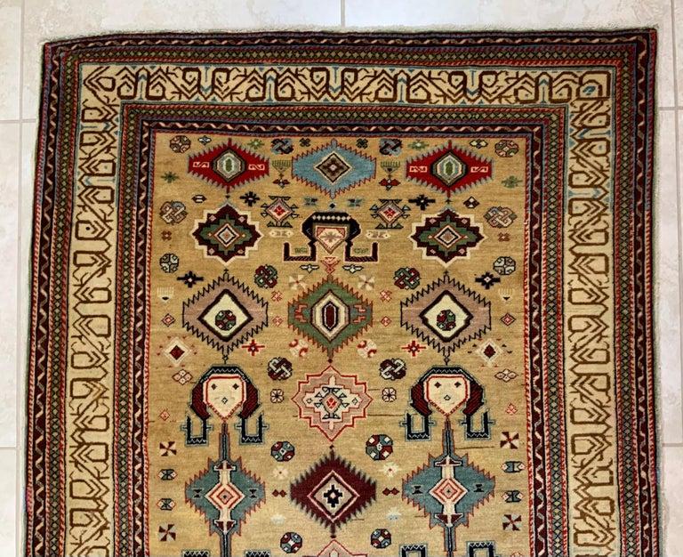 Turkish Vintage Handwoven Kazak Motifs Rug For Sale