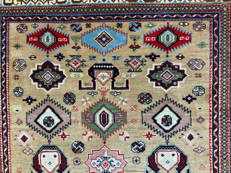 Hand-Woven Vintage Handwoven Kazak Motifs Rug For Sale