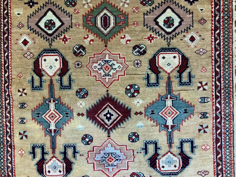 20th Century Vintage Handwoven Kazak Motifs Rug For Sale