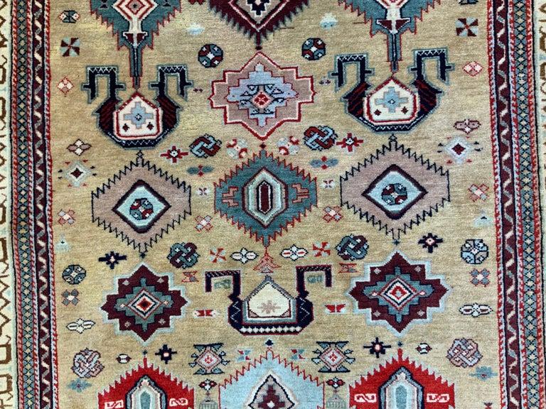 Vintage Handwoven Kazak Motifs Rug For Sale 1
