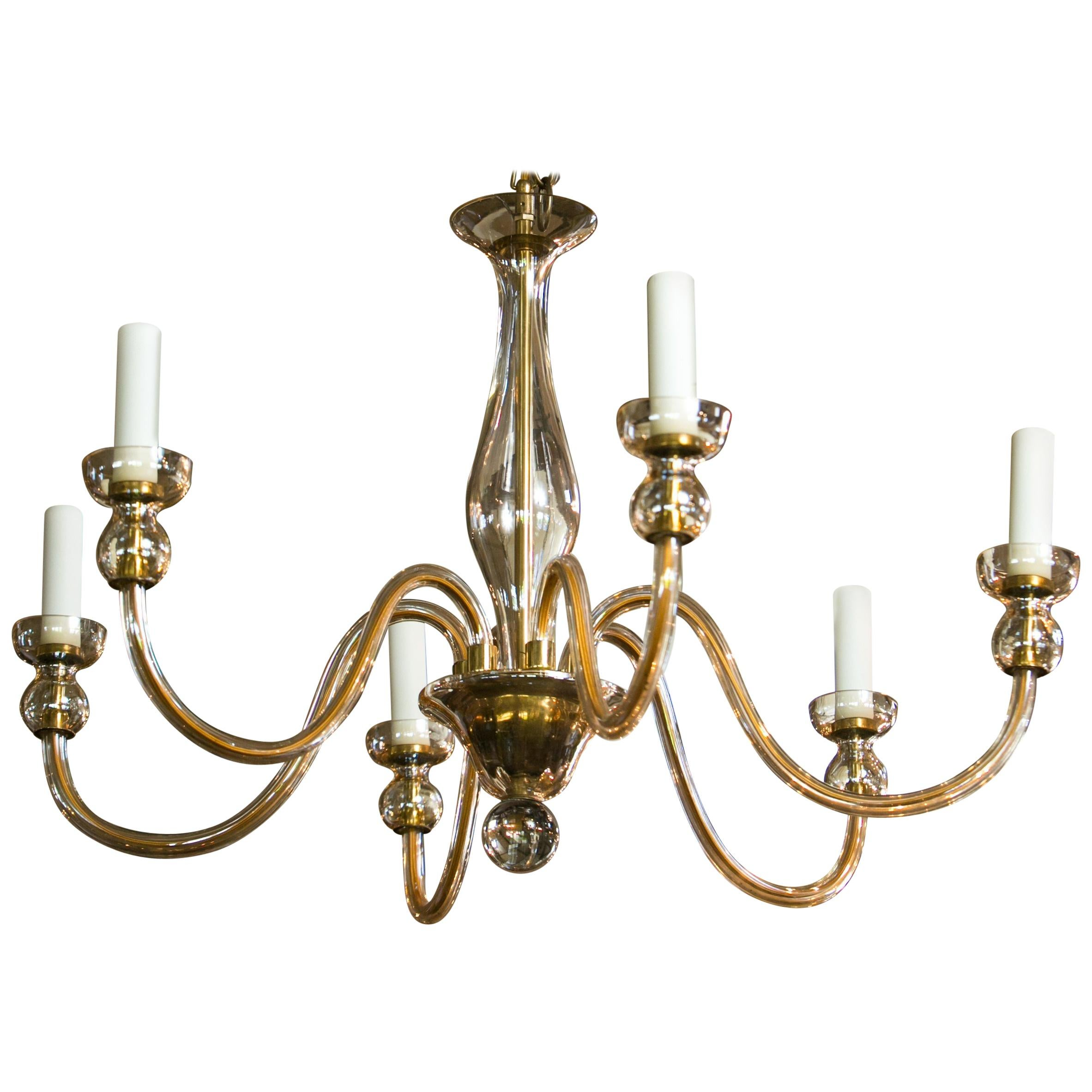 Murano Pale Amber Glass Chandelier