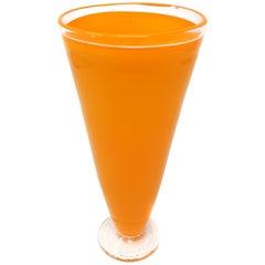 Vintage Hand Blown Orange Glass Vase