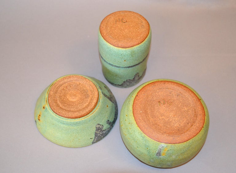 Late 20th Century Vintage Handcrafted Aztec Green and Gray Pottery Bowls or Vessel, Set of 3 For Sale