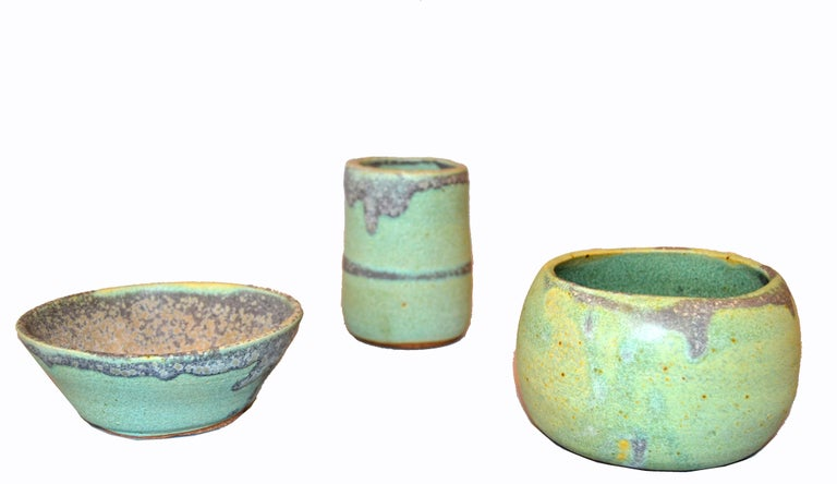 Vintage Handcrafted Aztec Green and Gray Pottery Bowls or Vessel, Set of 3 For Sale 1