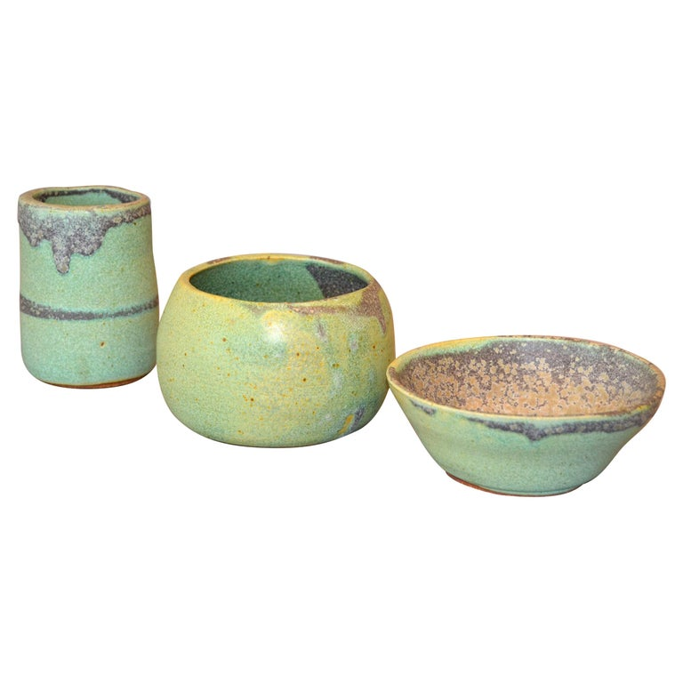 Vintage Handcrafted Aztec Green and Gray Pottery Bowls or Vessel, Set of 3 For Sale