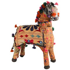 Vintage Handcrafted Embroidered Horse, India, 1950