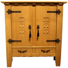 Vintage Handcrafted Mission Style Oak Cabinet