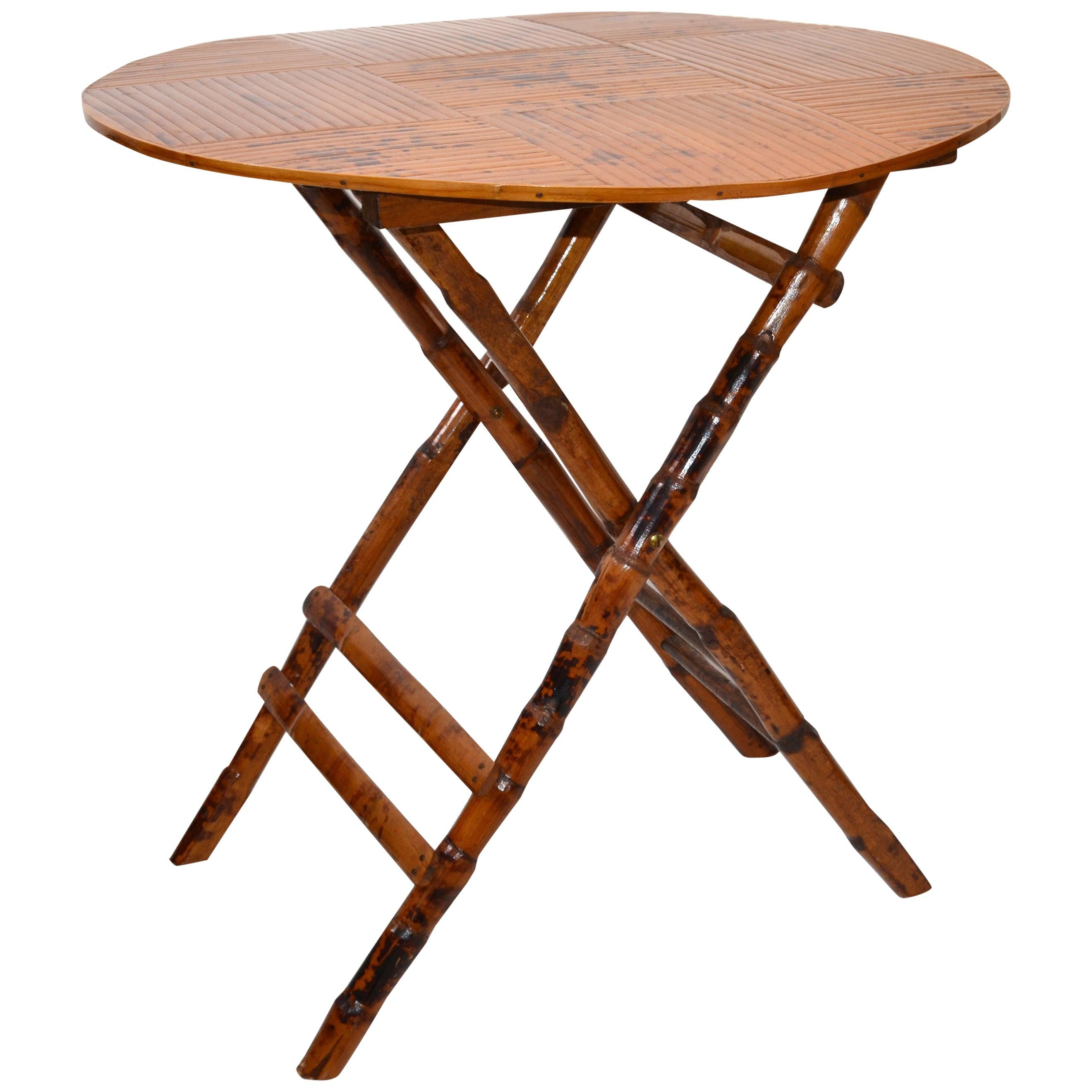 Vintage Handcrafted Round Bamboo Bistro Folding Table, Center Table X-Base