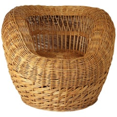 Vintage Handcrafted Wicker Armchair, France, circa 1960