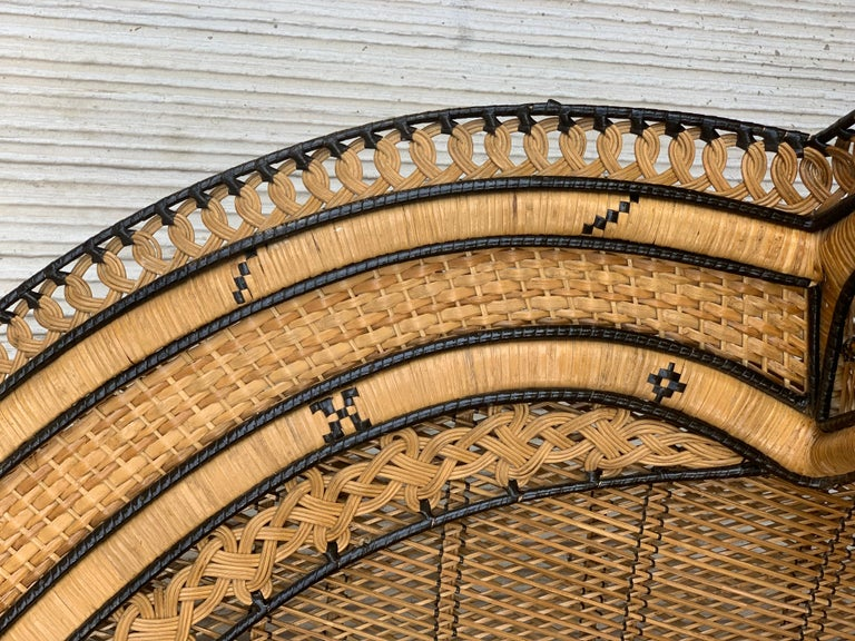 Vintage Handcrafted Wicker, Rattan and Reed Peacock Chair For Sale 5