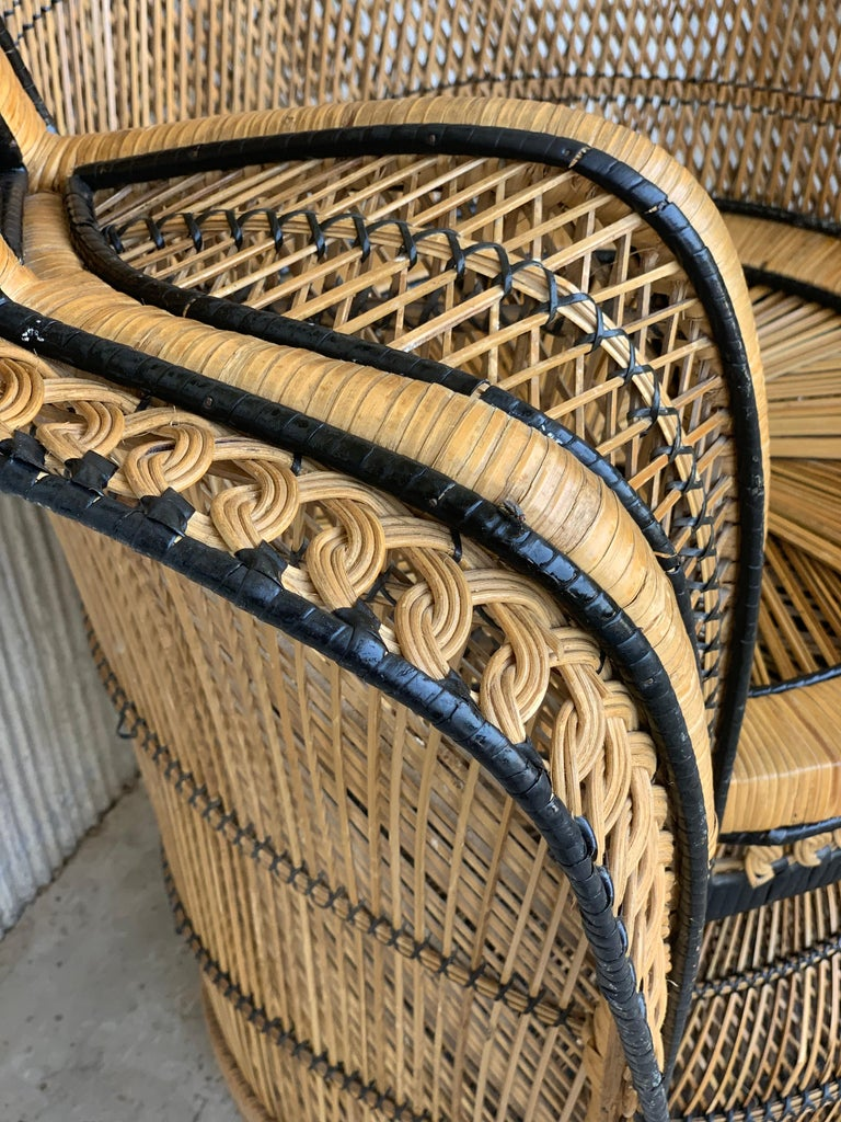 Vintage Handcrafted Wicker, Rattan and Reed Peacock Chair For Sale 6