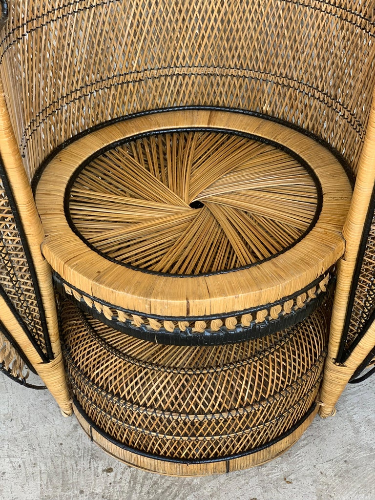 Vintage Handcrafted Wicker, Rattan and Reed Peacock Chair For Sale 9