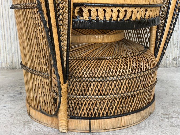 Vintage Handcrafted Wicker, Rattan and Reed Peacock Chair For Sale 10