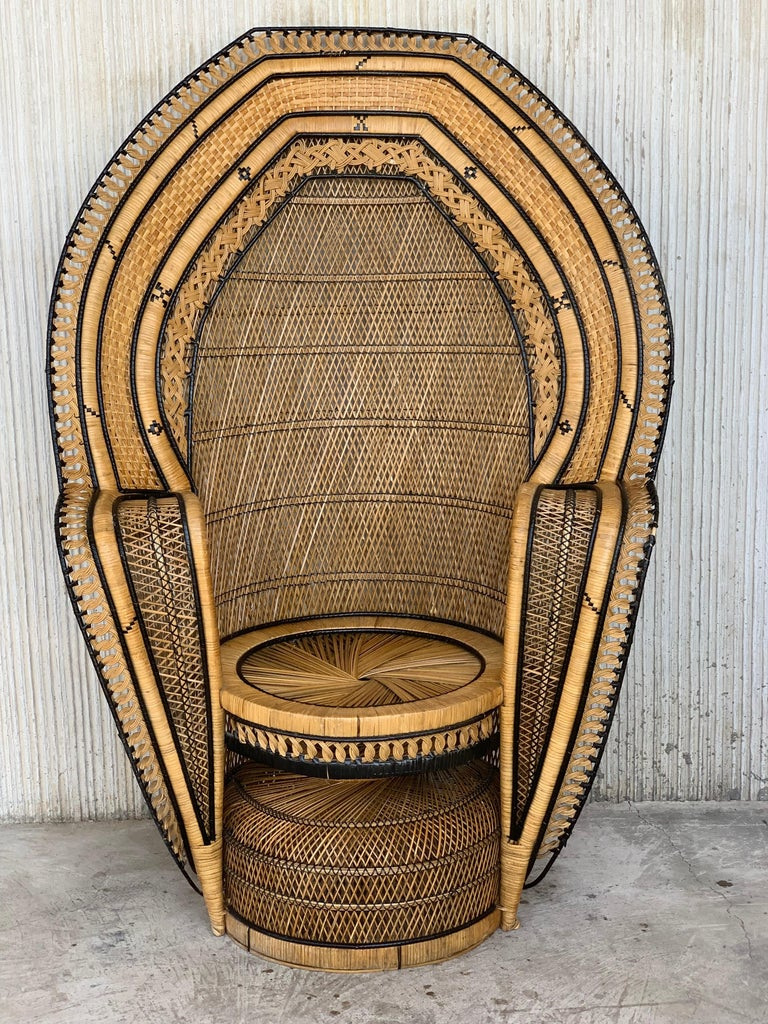 Spanish Vintage Handcrafted Wicker, Rattan and Reed Peacock Chair For Sale