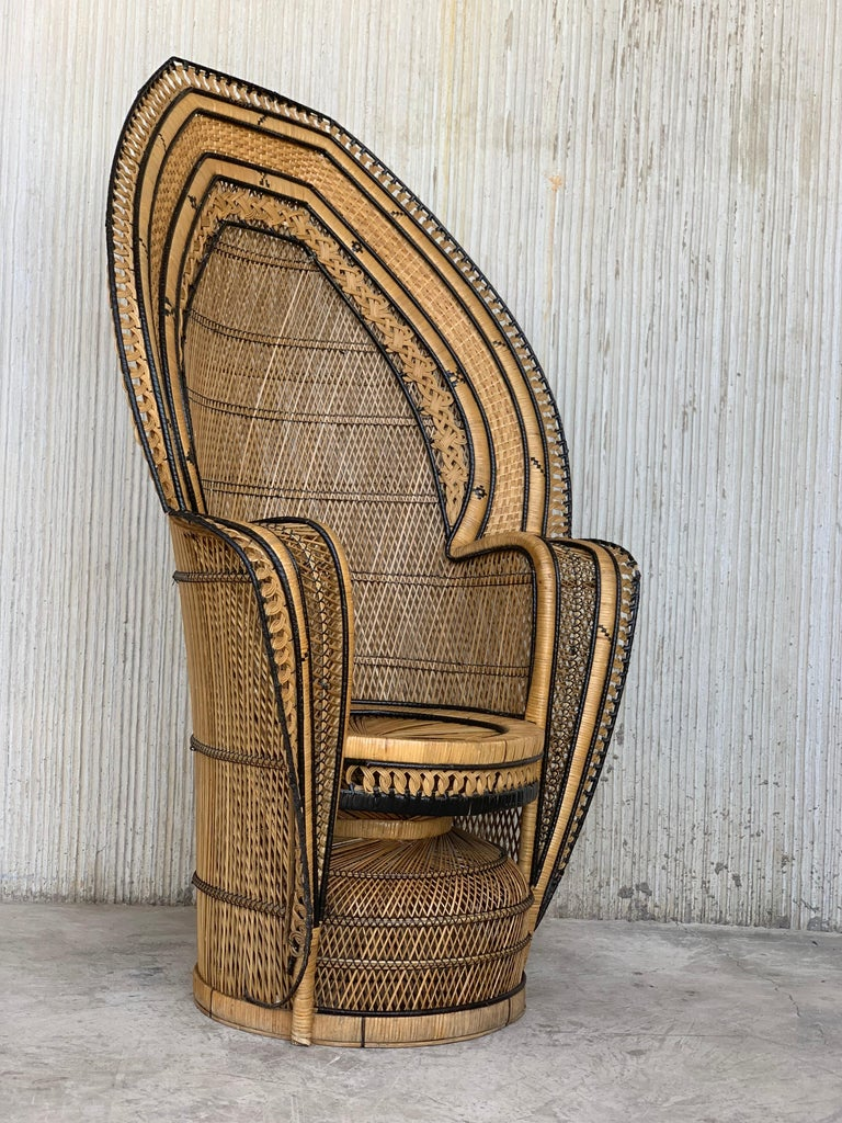 20th Century Vintage Handcrafted Wicker, Rattan and Reed Peacock Chair For Sale
