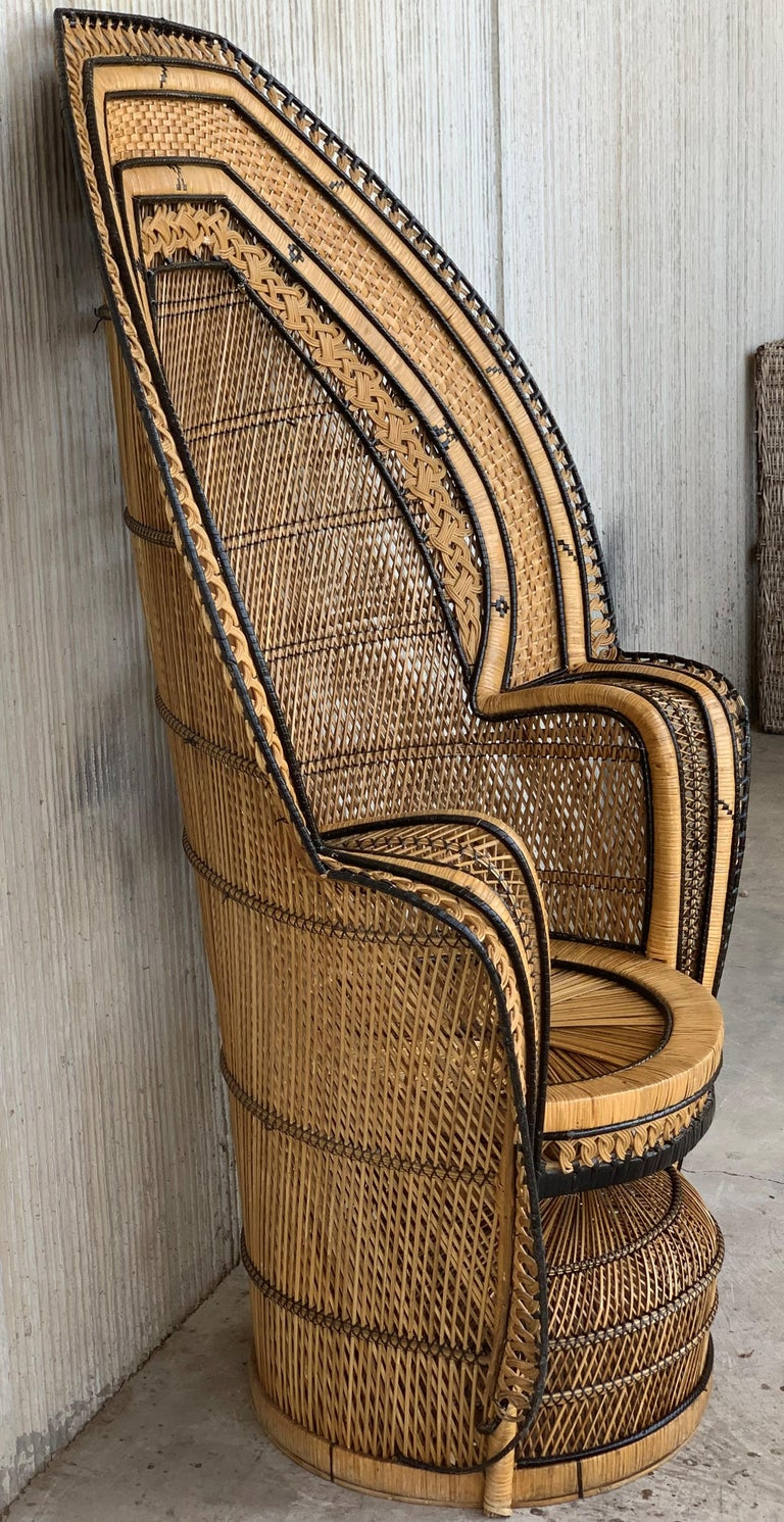 Vintage Handcrafted Wicker, Rattan and Reed Peacock Chair For Sale 3