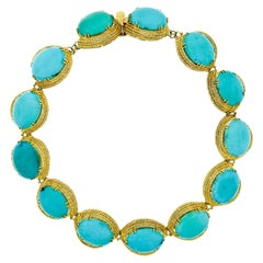 Vintage Handmade 18k Gold GIA Large 200ctw Cabochon Turquoise Statement Necklace
