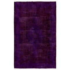 7.6x11.3 Ft Vintage Handmade Anatolian Rug Over-Dyed in Purple Color