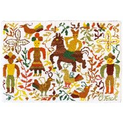 Vintage Handmade 'Caballito' Folklore Rug by Olga Fisch, Ecuador, circa 1950s