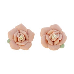 Vintage Handmade Ceramic Bisque Pink Rose Figural Earrings, 1960s