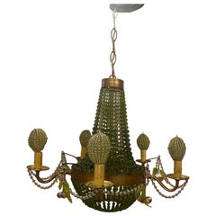 Vintage Handmade Chandelier with Glass Beads and Cherries
