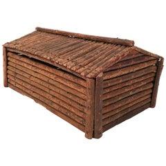 Vintage Handmade Folk Art Log Cabin Box