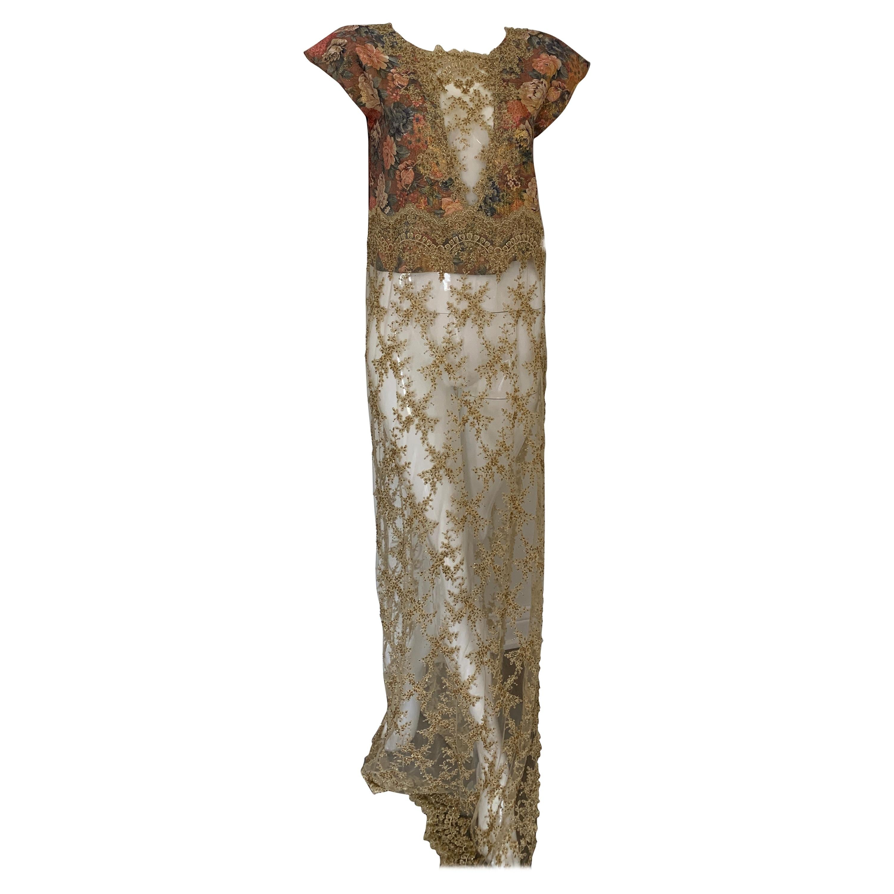 Vintage Handmade Gold Applique and Floral Gown