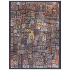 Vintage Handmade Gujarati Tribal Saree Mirror Patchwork & Textiles Tapestry