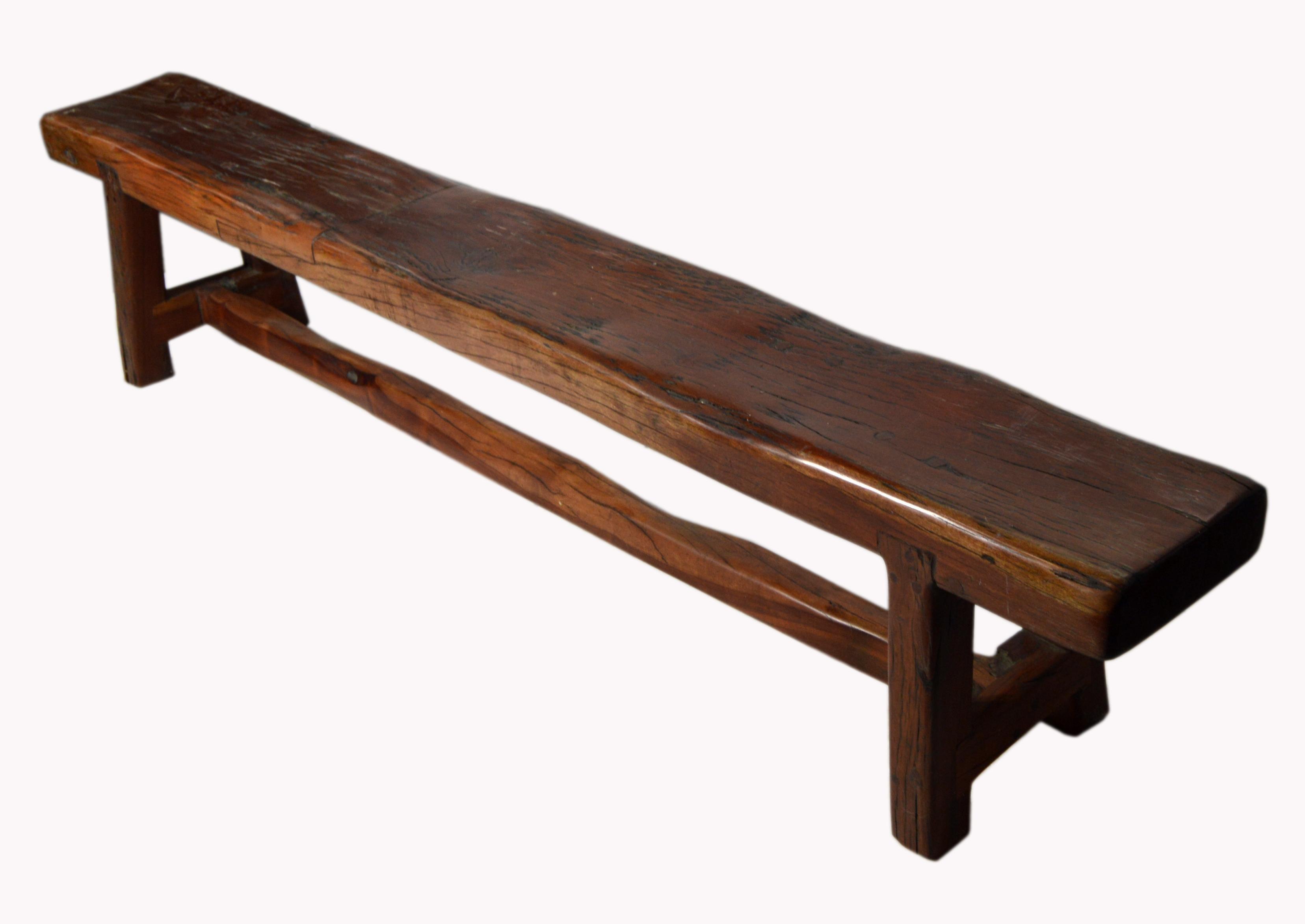 Vintage Handmade Javanese Brown Wood Narrow Bench With Splayed Legs For At 1stdibs