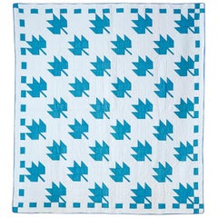 "Vintage Handmade ""Maple Leaf"" Quilt in White and Blue, USA, 1930s"
