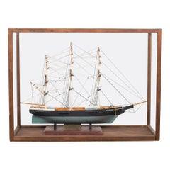 Vintage Handmade Model Ship, circa 1940-1960