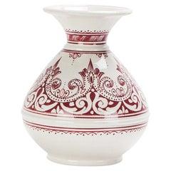Vintage Handmade Moroccan Burgundy and White Ceramic Vase
